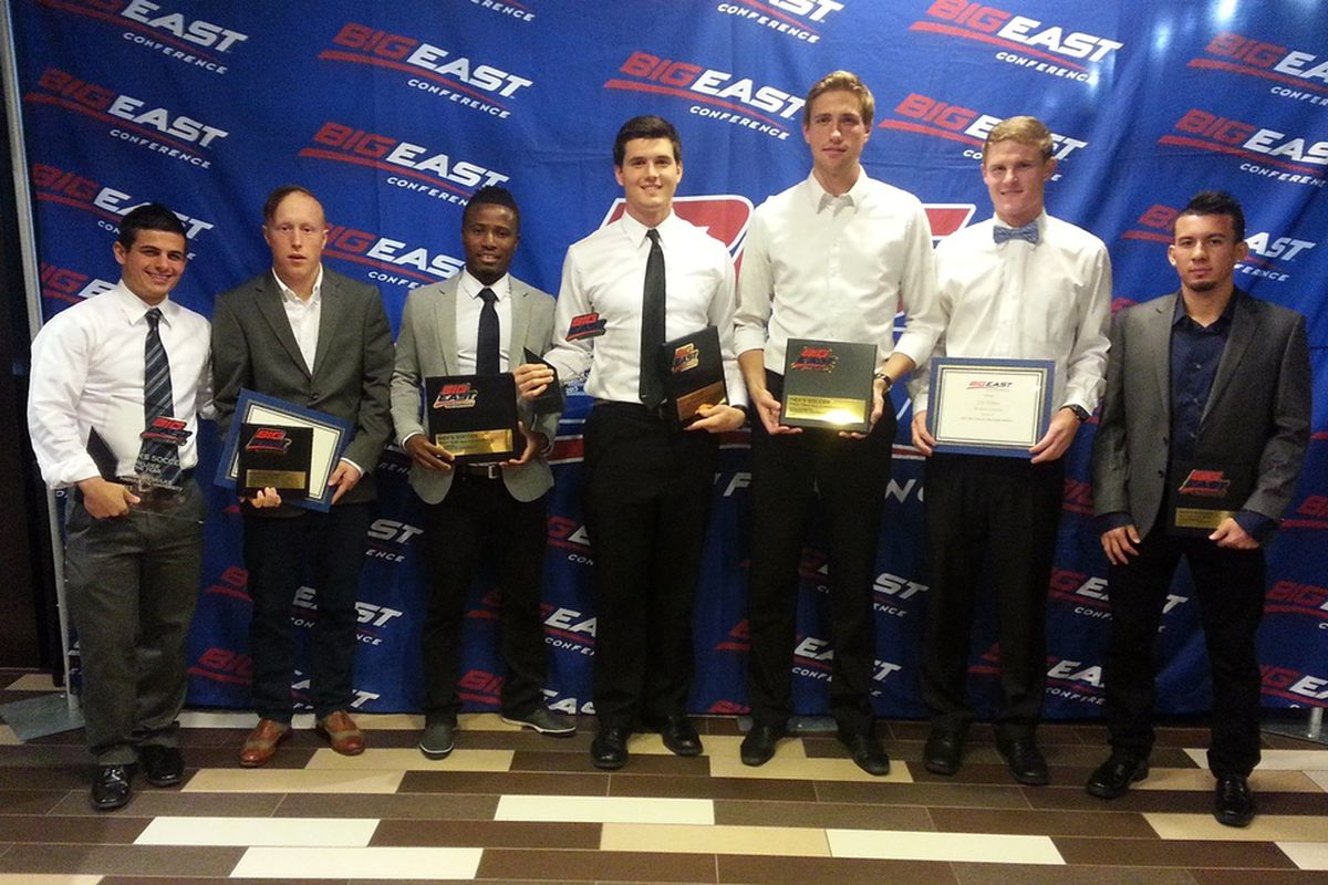(L-R) Bryan Ciesiulka, Louis Bennett II, C. Nortey, Charlie Lyon, Axel Sjoberg, Eric Pothast, and Coco Navarro earned all-conference honors.