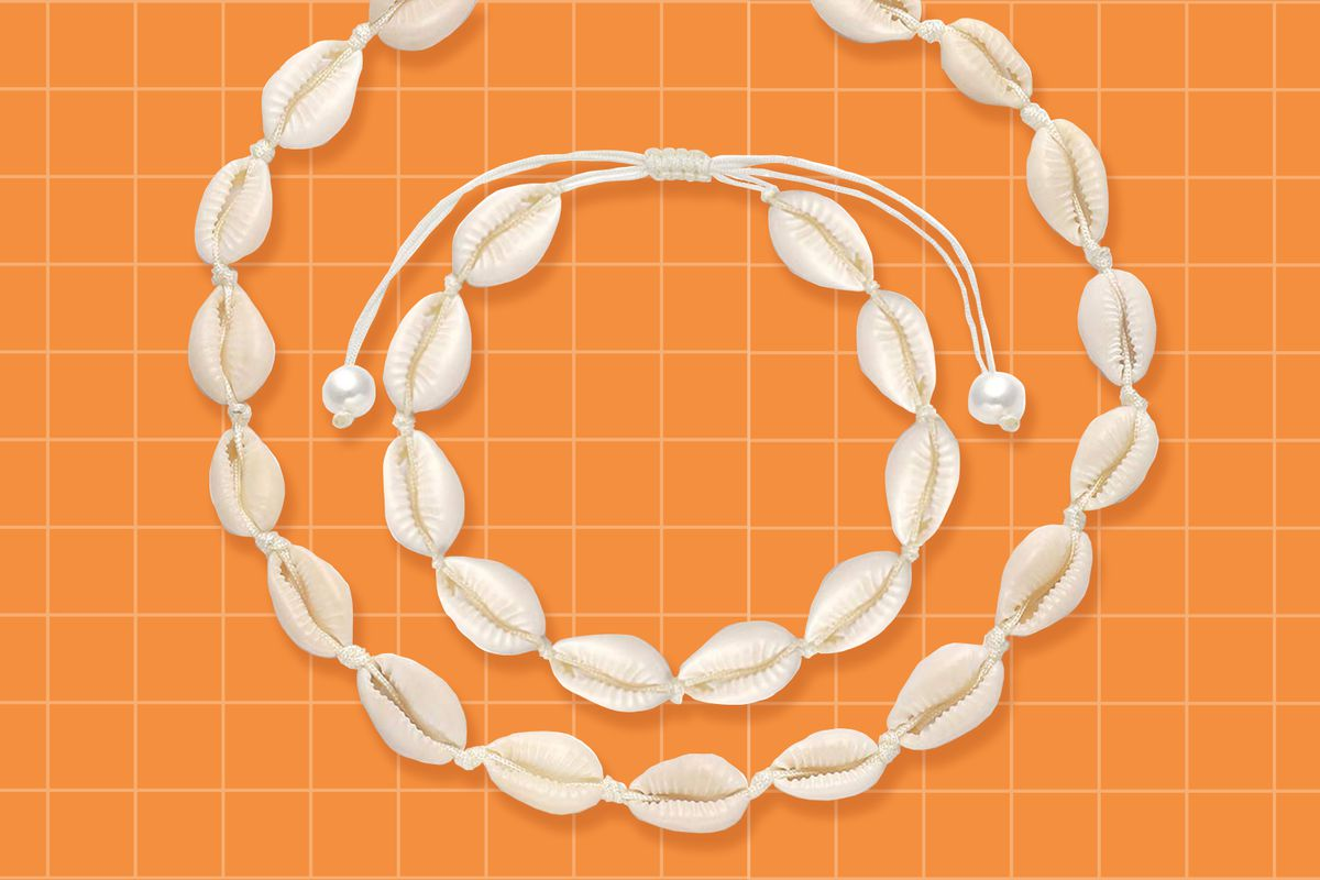 A white, shell-bead necklace