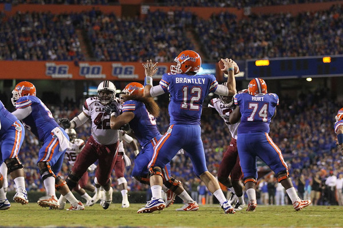 GAINESVILLE FL - NOVEMBER 13:  John Brantley #12 of the Florida Gators passes during a game against the South Carolina Gamecocks at Ben Hill Griffin Stadium on November 13 2010 in Gainesville Florida.  (Photo by Mike Ehrmann/Getty Images)