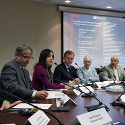 Shaleane Gee, third from left, speaks during a Collective Impact on Homelessness Steering Committee meeting at the Salt Lake County Government Center in Salt Lake City on Wednesday, Dec. 9, 2015.