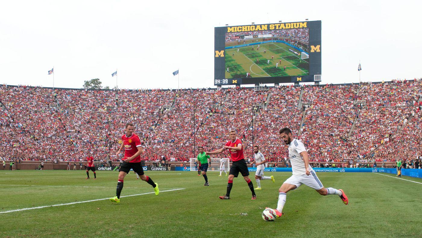 manchester united vs real madrid at michigan stadium sets u s soccer attendance record sbnation com manchester united vs real madrid at