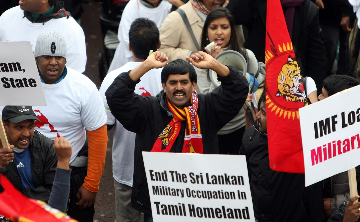 Tamil Protesters March Through Hyde Park