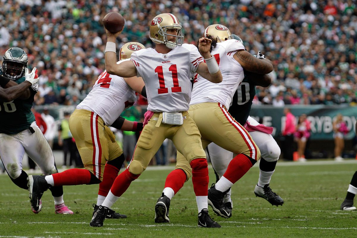 Quarterback  Alex Smith and rookie head coach Jim Harbaugh have the San Francisco 49ers on top of the NFC West with a surprising 4-1 record.