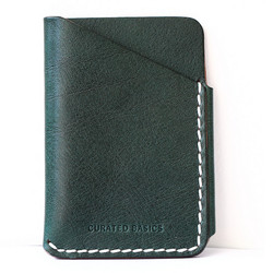 Curated Basics green leather card holder, $40