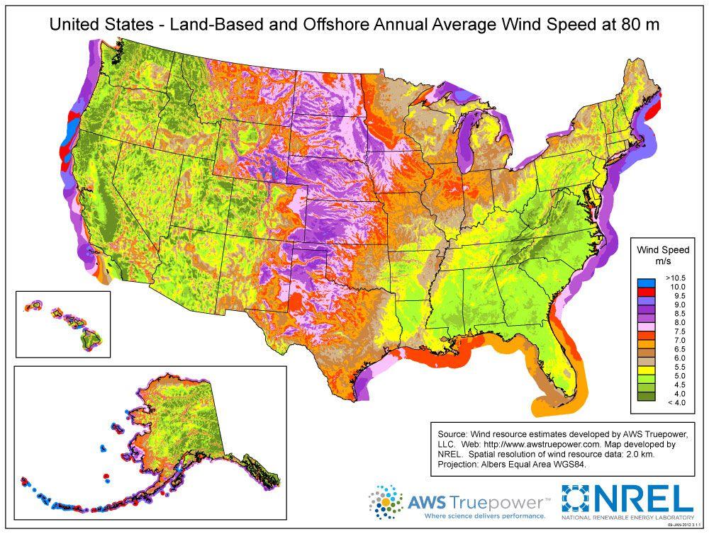US wind speed map