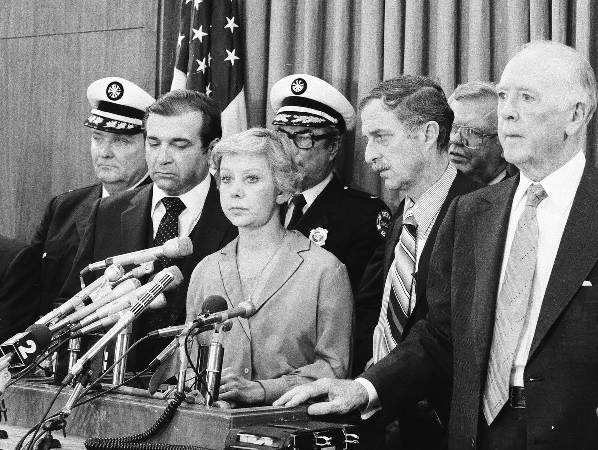 Mayor Jane Byrne at a press conference during the firefighters' strike that occurred early in her one term in office.