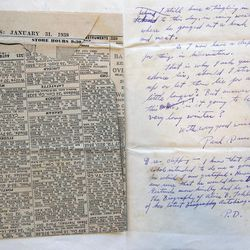 This Sept. 11, 2012, photo shows a letter and newspaper clipping sent to Ernest Hemingway from writer Paul Drus in 1938, a part of the Hemingway collection at the John F. Kennedy Library and Museum in Boston, which is being sent out for restoration. Among letters written to Ernest Hemingway slated for repair are dispatches from public figures including Hollywood stars Ingrid Bergman and Marlene Dietrich, writers F. Scott Fitzgerald and Gertrude Stein, and Hemingway's editor Max Perkins.