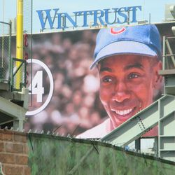 Ernie Banks graphic still being displayed on the video board -