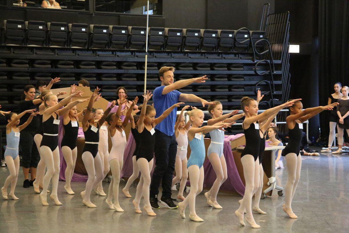 """Choreographer Christopher Wheeldon in rehearsal with the children's cast for """"The Nutcracker."""" (Photo: Todd Rosenberg)"""