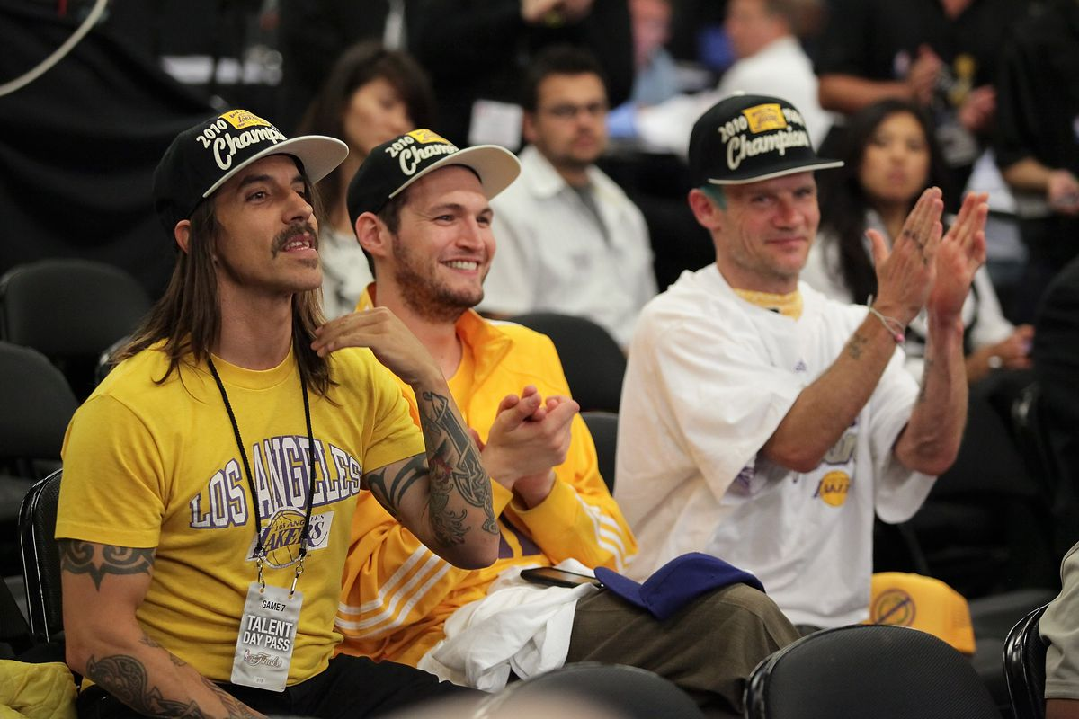 Anthony Kiedis and Flea - Red Hot Chili Peppers - at a Lakers Game