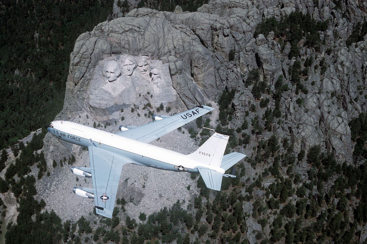 EC-135 Stratolifted aircraft over Mount Rushmore