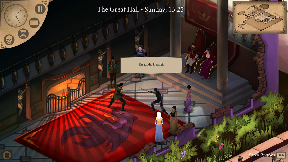 Elsinore - A duel ensues in the royal throne room.
