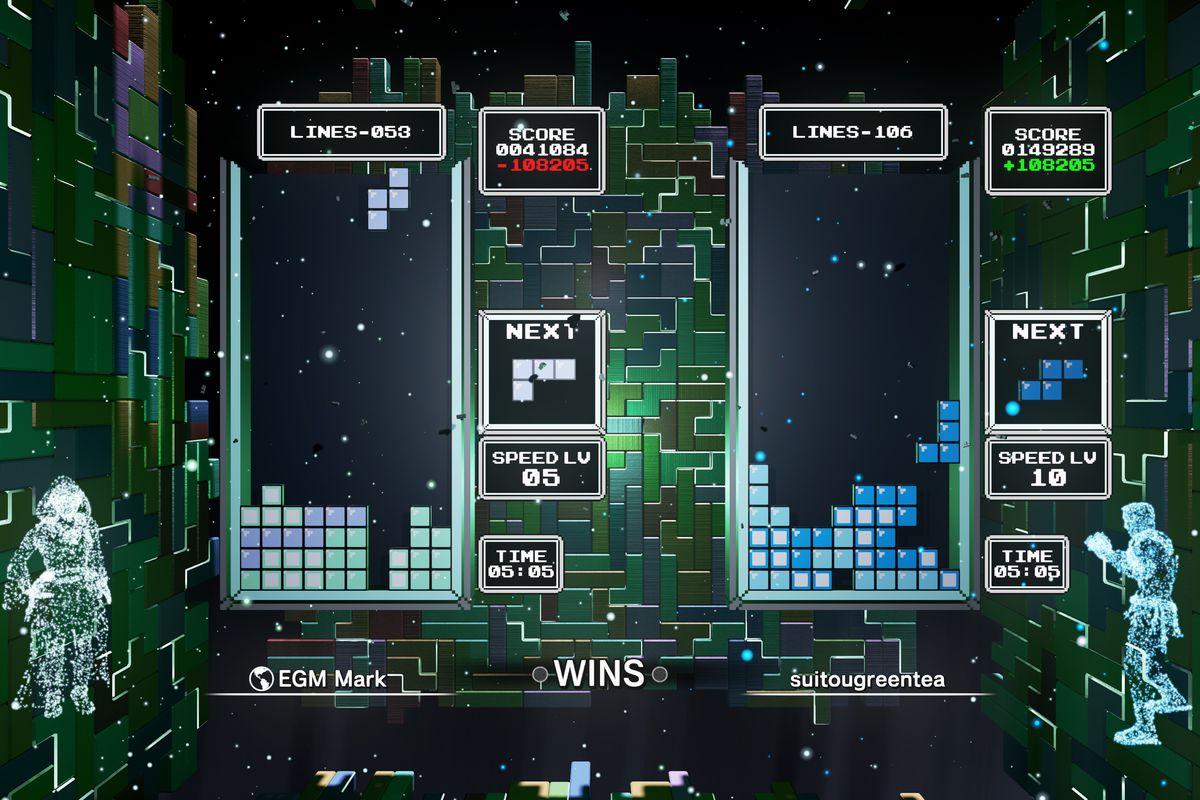 A screenshot of Tetris Effect's Classic Score Attack mode between two players