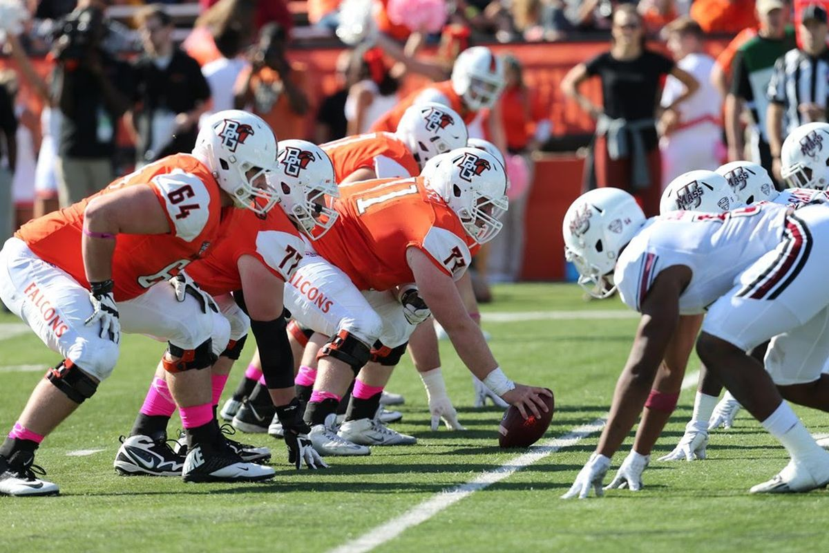 Bowling Green's Tim McAuliffe anchors the Falcon offensive line