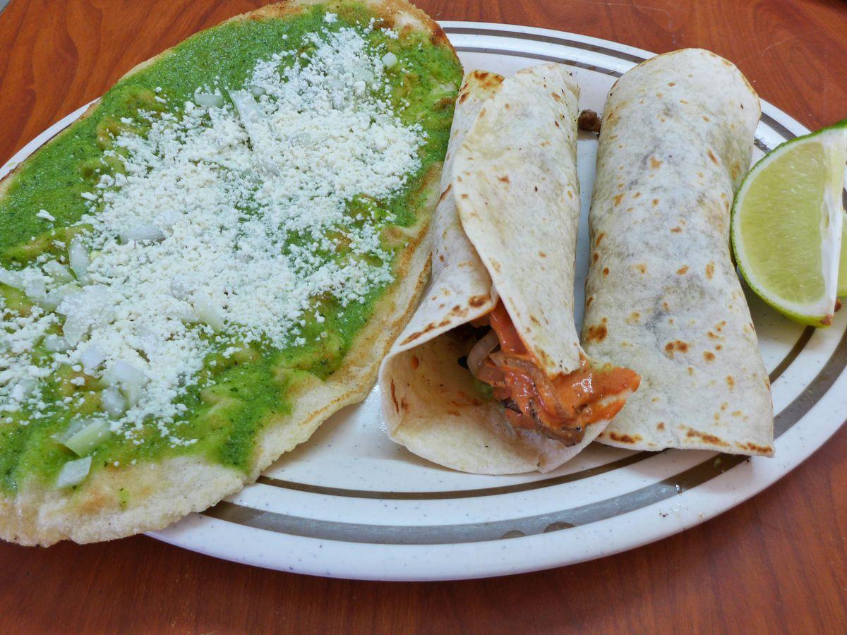 Huarache and two tacos Arabes at Santa Ana Deli
