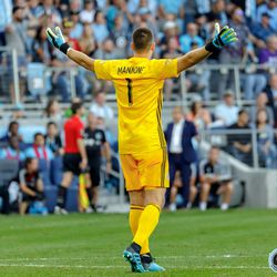 August 7, 2019 - Saint Paul, Minnesota, United States - Minnesota United goalkeeper Vito Mannone (1) reacts to seeing the replay where it appeared Portland was offside during the US Open Cup semifinal match between Minnesota United and the Portland Timbers at Allianz Field.