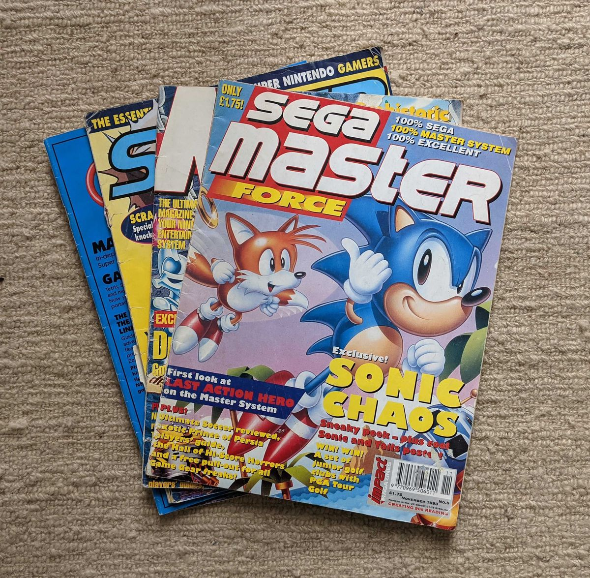 A stack of old video game magazines