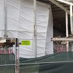 Closeup view of some work being done on the eastern side of the right field lower deck