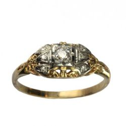 1930/40s 0.06ct European cut diamond ring with single cut sides, 14K, The production of platinum jewelry was banned during WWII because the metal had useful industrial purpose during the war. So yellow gold came back into style, and some beautiful late De