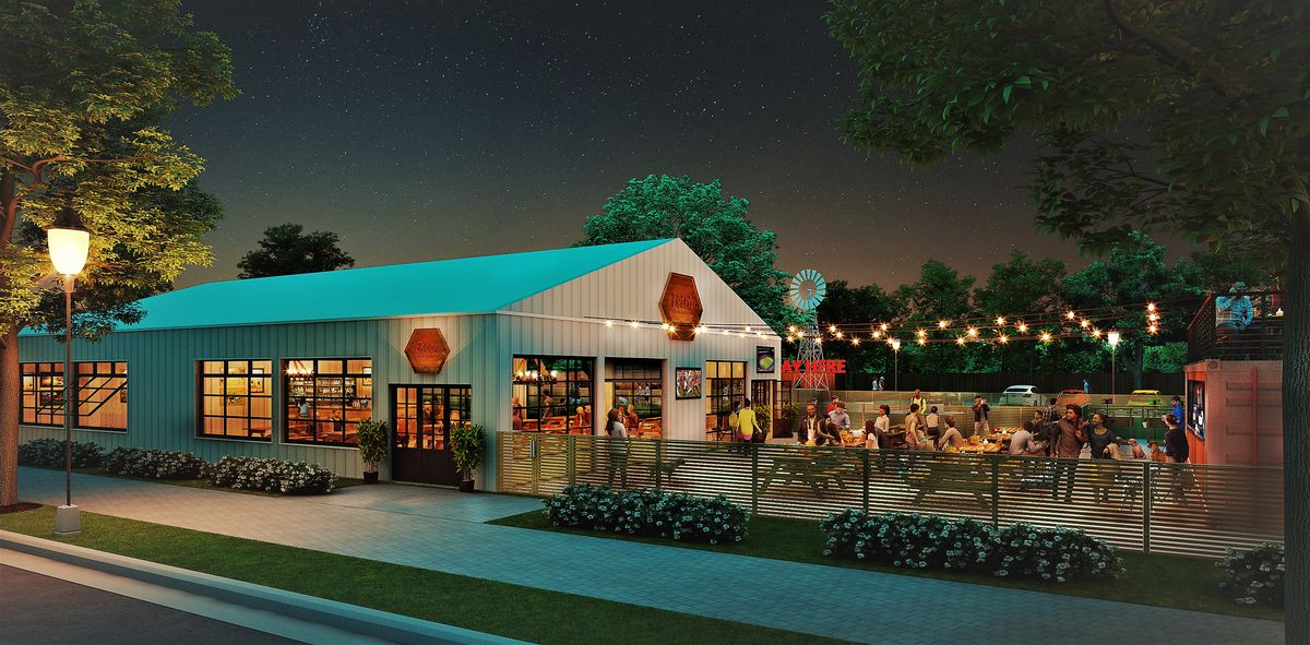 A rendering of the dog-park restaurant.