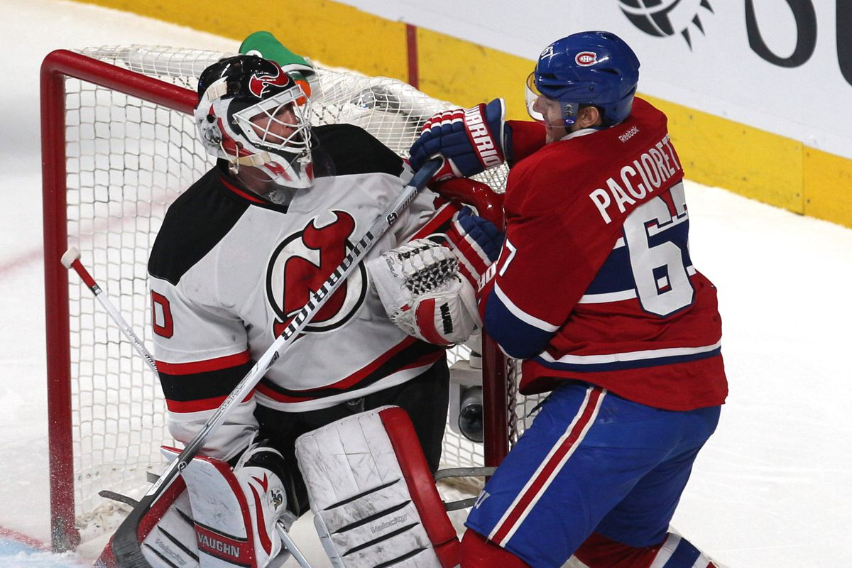 Martin Brodeur will be wearing white in net tonight. He may also have to battle Montreal's top goal scorer, Max Pacioretty.