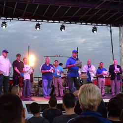 Dignitaries at the official opening ceremony. Mesa Mayor Scott Smith at left, other Mesa council members and officials, and Julian Green from the Cubs at far right