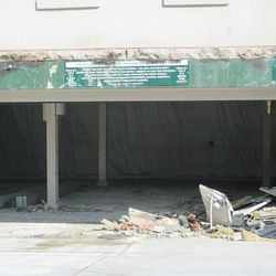 11:06 a.m. View inside the main gate, Gate F, where you can see where tarps have been put up -