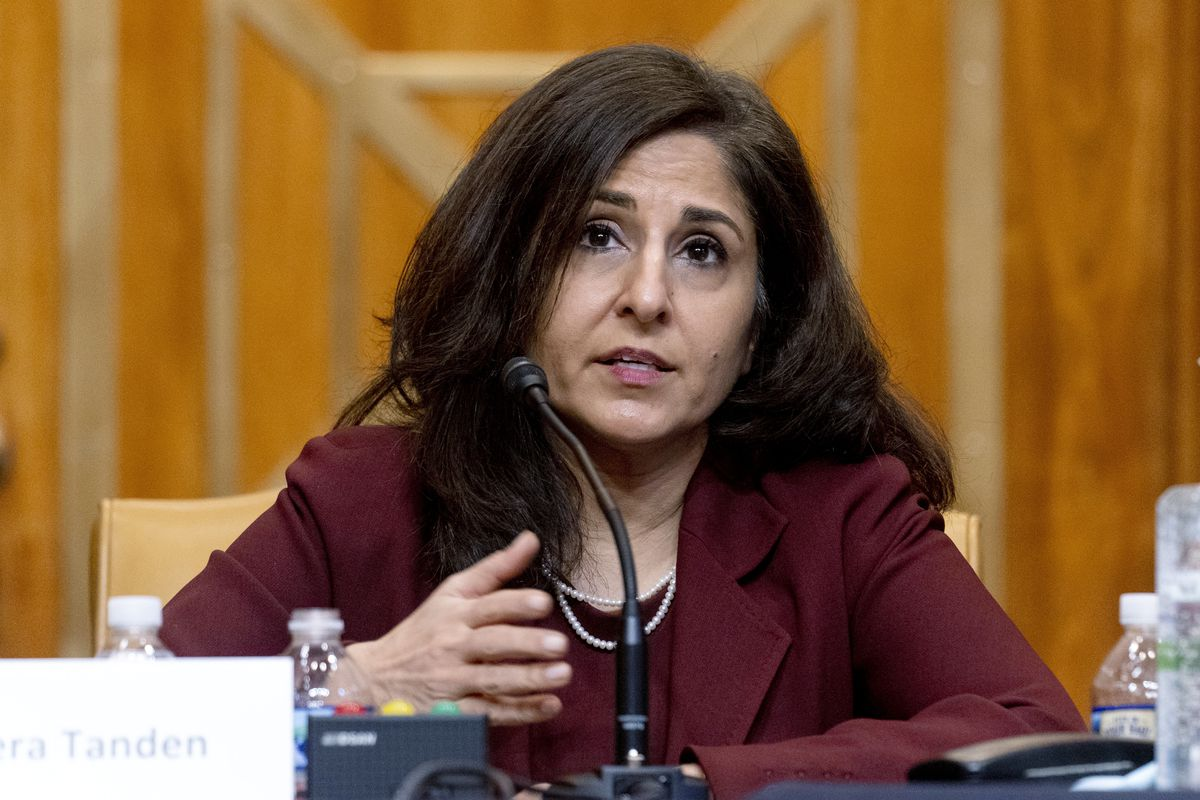 In this Feb. 10, 2021 file photo, Neera Tanden, President Joe Biden's nominee for Director of the Office of Management and Budget (OMB), testifies during a Senate Committee on the Budget hearing on Capitol Hill in Washington.