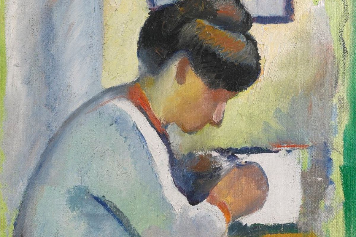 Woman Writing by August Macke, oil on canvas laid down on board, 65-by-48.5 cm, 1910.