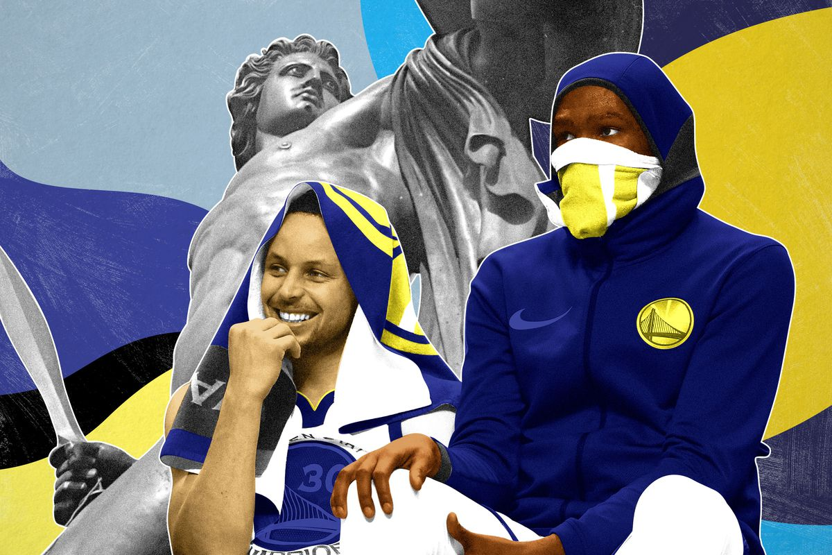 Steph Curry, Kevin Durant, and a statue of Achilles
