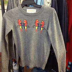Doll house parrot sweater, $60