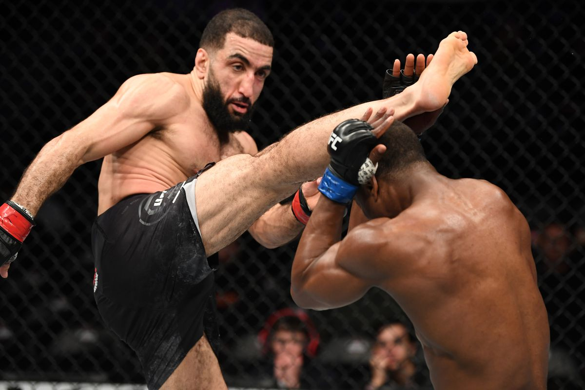Belal Muhammad kicks Geoff Neal in their welterweight bout during the UFC Fight Night event at the Barclays Center on January 19, 2019 in the Brooklyn borough of New York City.