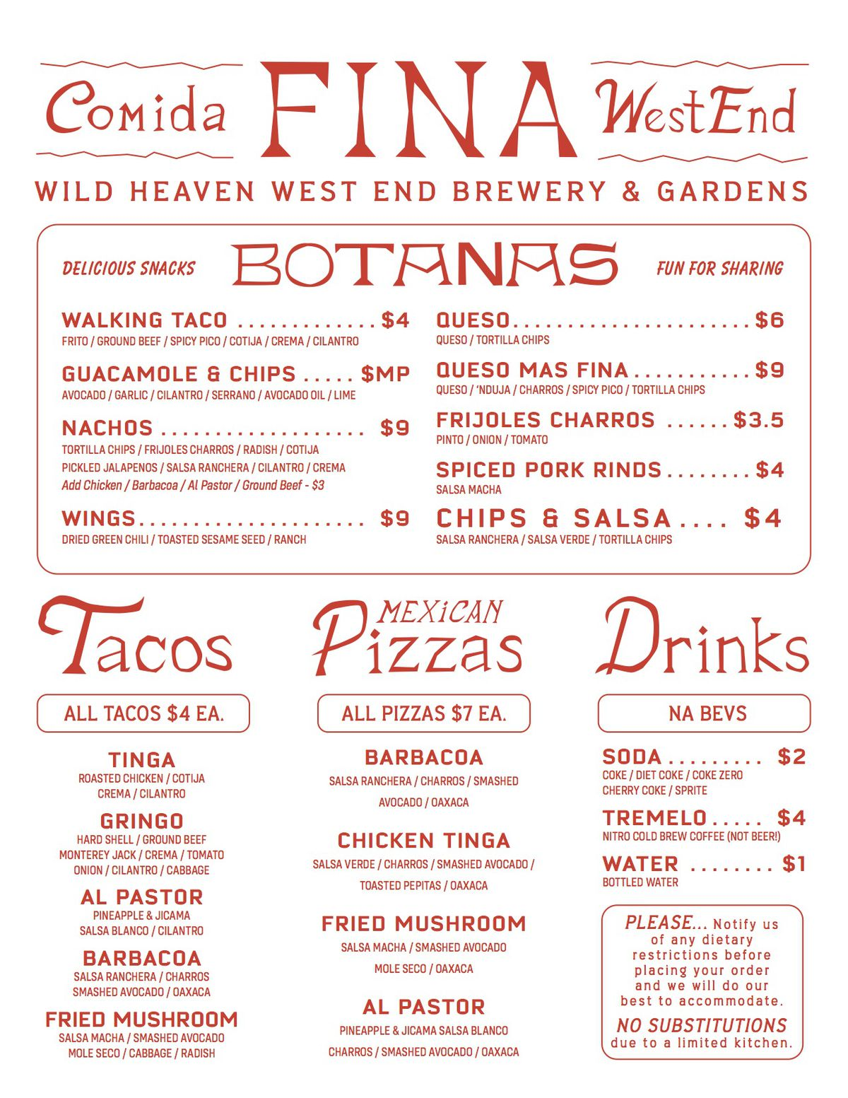 The menu for Fina at Wild Heaven brewery in West End, Atlanta