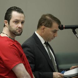 Nathaniel Sloop stands before the judge during a hearing at the 2nd District Court in Farmington on Tuesday, Dec. 11, 2012.
