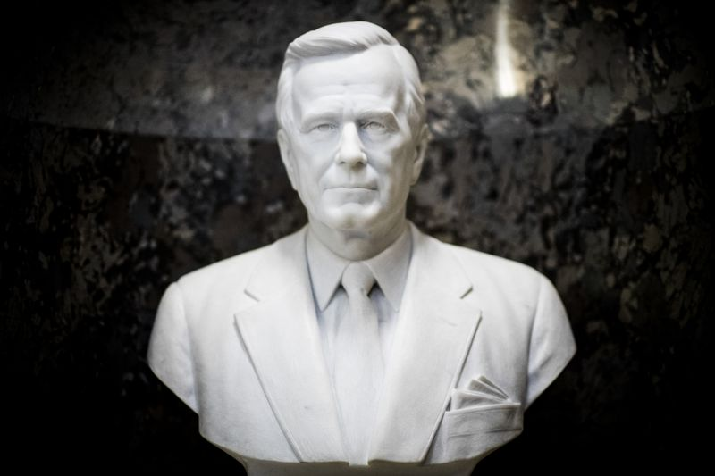 The bust of George HW Bush by the entrance to the Senate chamber in the Capitol building.