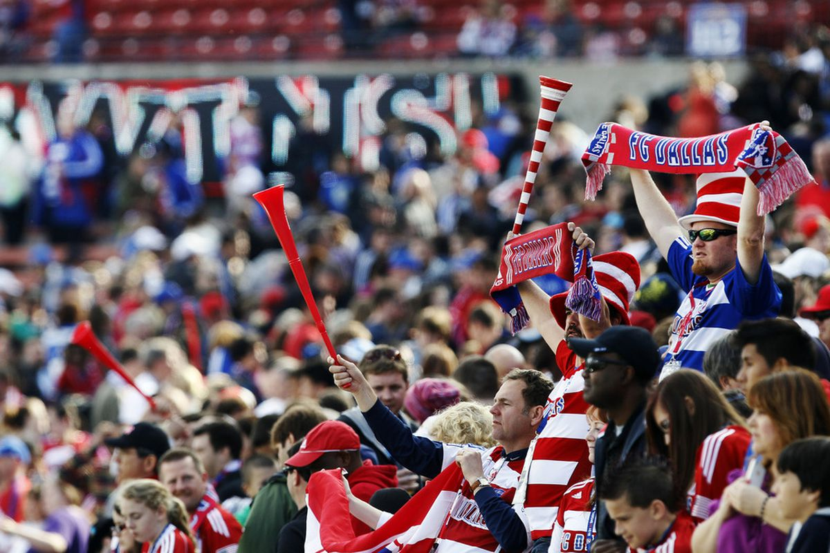 FRISCO, TX - MARCH 11: FC Dallas fans celebrate their teams 2-1 victory over the New York Red Bulls during the second half of a soccer game at FC Dallas Stadium on March 11, 2012 in Frisco, Texas. (Photo by Brandon Wade/Getty Images)