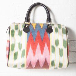 """<b>Artemis Design Co.</b> Ikat Handbag at <b>Flock</b>, <a href=""""http://www.flockboston.com/ikat-handbag.html"""">$290</a>"""