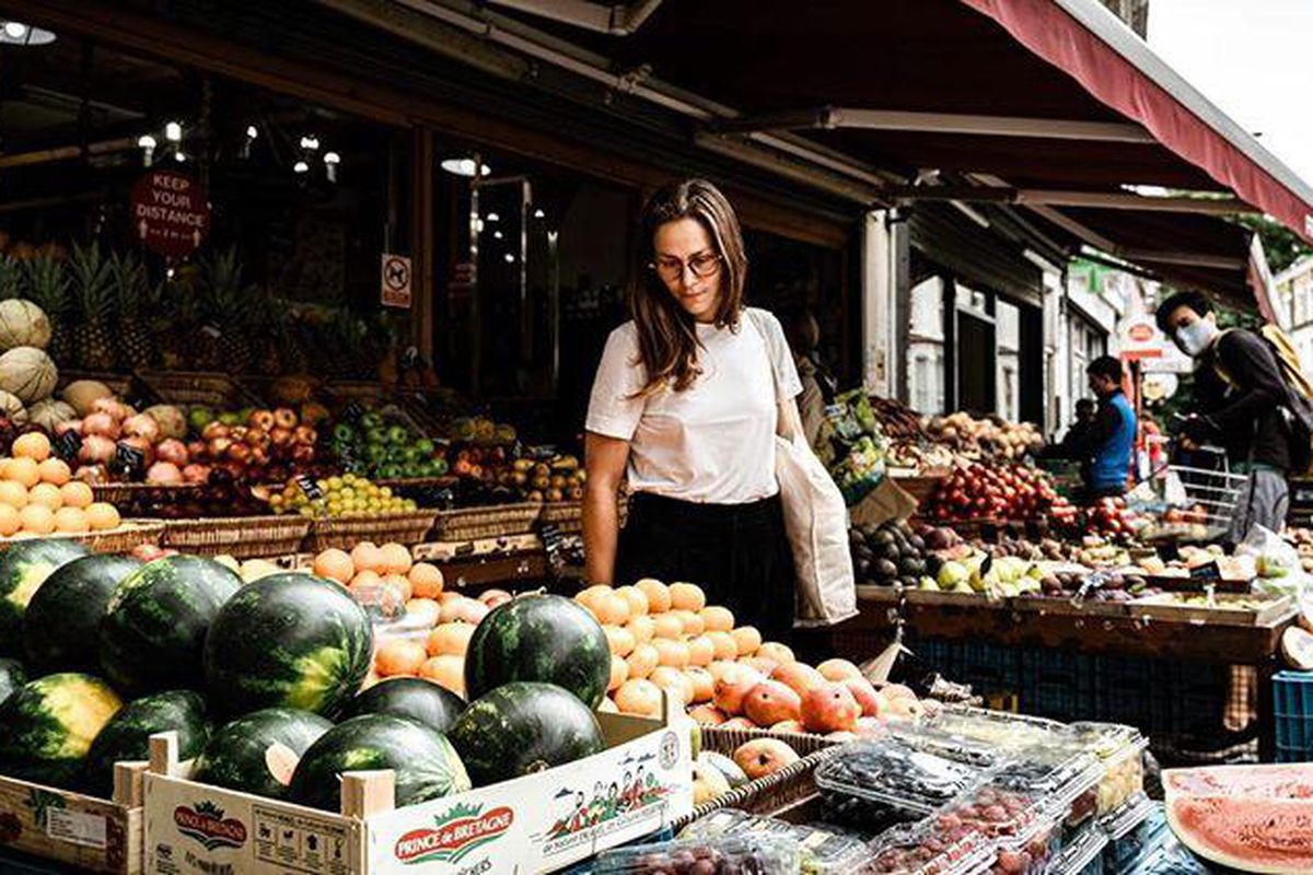 Chef Anna Tobias shopping for groceries. She will open her debut restaurant Cafe Deco with the team behind 40 Maltby Street, in Bloomsbury, this autumn