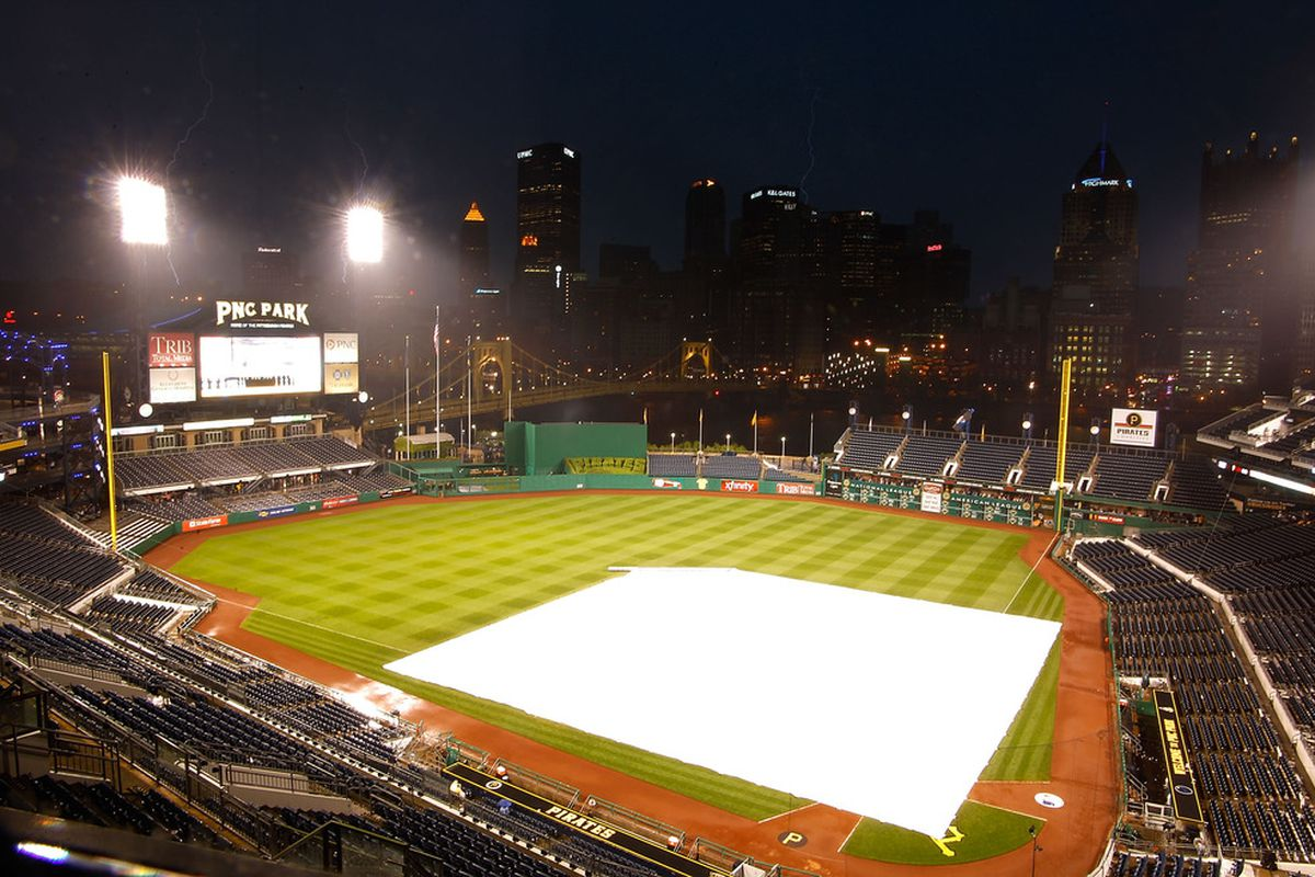 PITTSBURGH - MAY 12:  Lightning strikes near PNC Park after a rain delay was issued at the start of the third inning between the Pittsburgh Pirates and the Los Angeles Dodgers at PNC Park in Pittsburgh, Pennsylvania.
