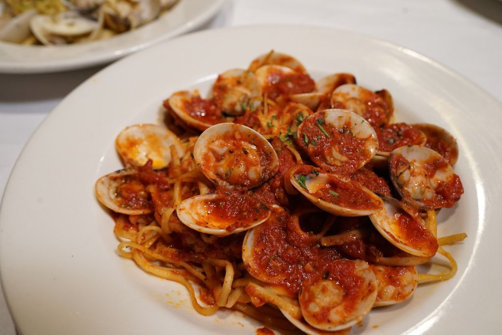 Linguine con Vongole(linguine with whole Manila clams in a red sauce), part ofthe Feast of the Seven Fishes at Italian Village, now officially known as The Village.
