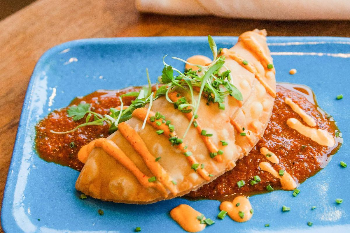 The summer squash empanada from vegan pop-up Happy Seed, which is opening a restaurant next year in Atlanta.