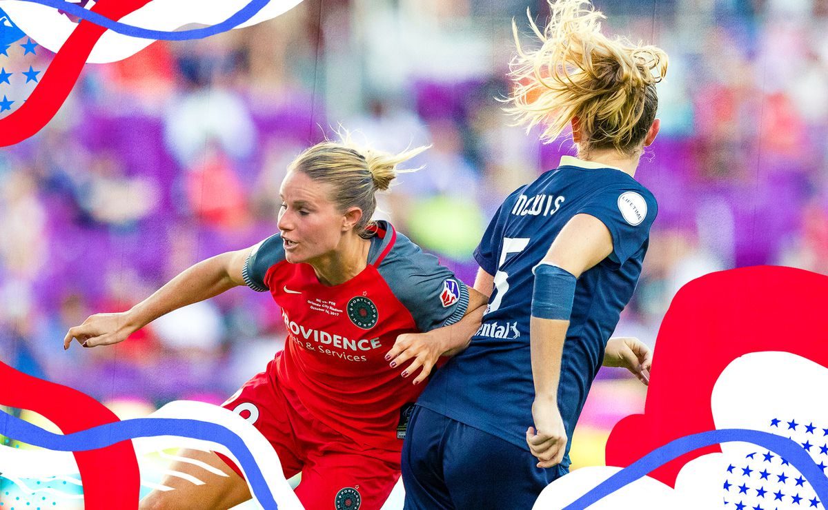 Image of Amandine Henry elbowing past a defender while playing for the Portland Thorns.