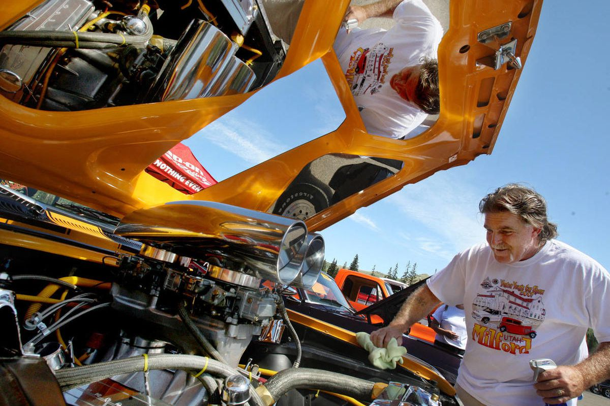 """Barte Hess details his 1963 Chevy Nova SS during the Keep On Rollin' Charity Car Show at Brighton Ski Resort on July 26, 2008. Did you hear the one about the Chevy Nova that flopped in Latin America because """"no va"""" means """"it doesn't go"""" in Spanish? Sorry,"""