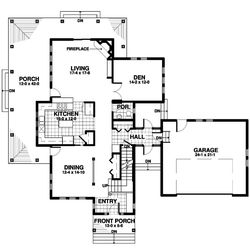 In this floor plan released by Homeplans.com, the first floor, with a dining room, kitchen, and fireplace-warmed living room, of a light-filled family home is shown for House of the Week HMAFAPW1713.