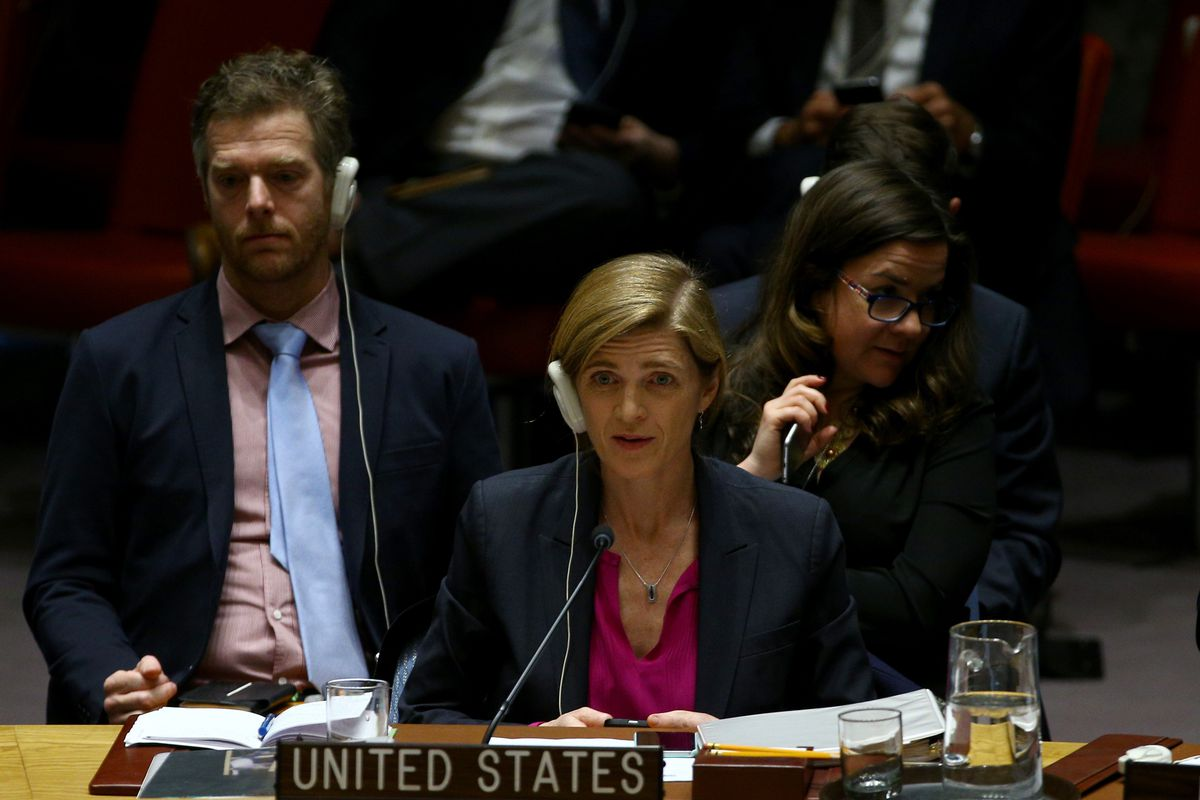 Us Ambassador To The United Nations Samantha Power Attends The Un Security Council Meeting On December   Where The Us Voted To Abstain On A Un