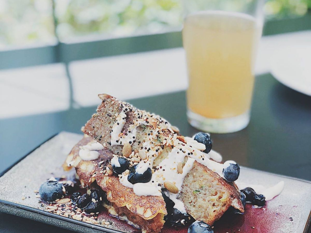 Zucchini bread French toast at Root Down