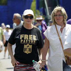 A person in the crowd wears a T-shirt referencing suspended New Orleans Saints NFL football head coach Sean Payton as Payton plays in the Pro-Am rounds of the PGA golf Zurich Classic at TPC Louisiana in Avondale, La., Wednesday, April 25, 2012.