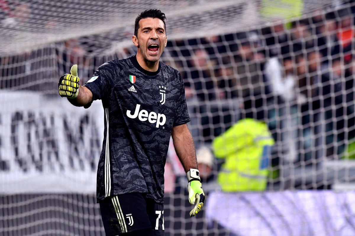 Gianluigi Buffon of Juventus FC getures during the Serie A...