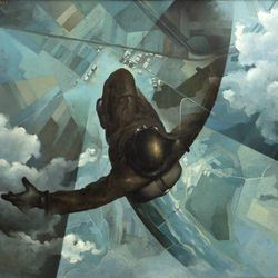 'Before the Parachute Opens' by Tullio Crali (1939)