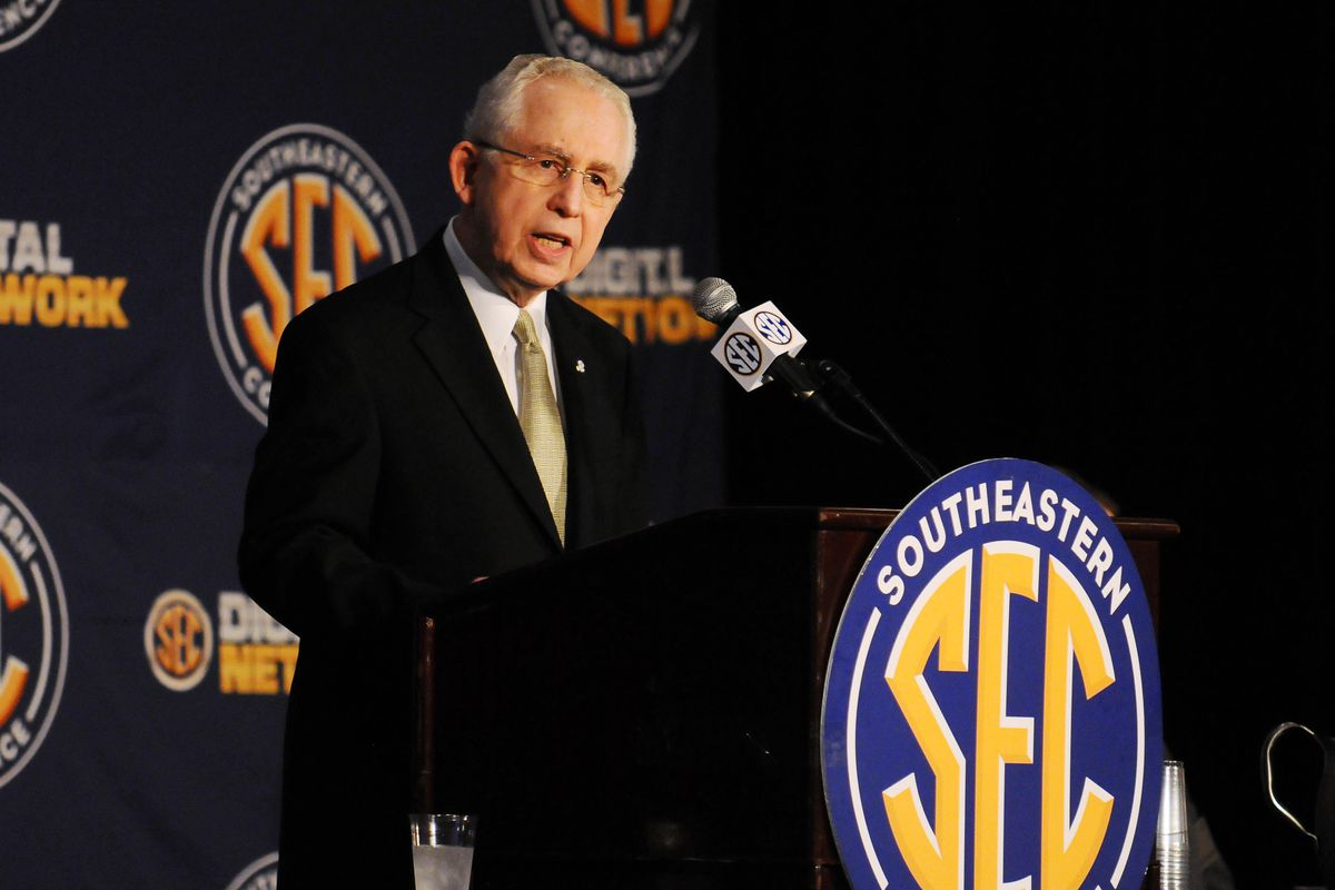 July 17, 2012; Hoover, AL, USA;  SEC commissioner Mike Slive speaks at a press conference during the 2012 SEC media days event at the Wynfrey Hotel.   Mandatory Credit: Kelly Lambert-US PRESSWIRE